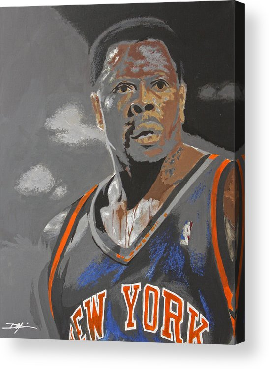 New York Knicks Acrylic Print featuring the drawing Ewing by Don Medina