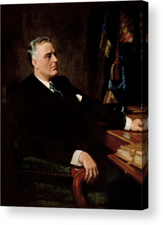 Franklin Roosevelt Acrylic Print featuring the painting Fdr Official Portrait by War Is Hell Store