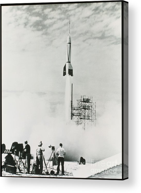 V2 Rocket Acrylic Print featuring the photograph First Cape Canaveral Rocket Launch by NASA Science Source