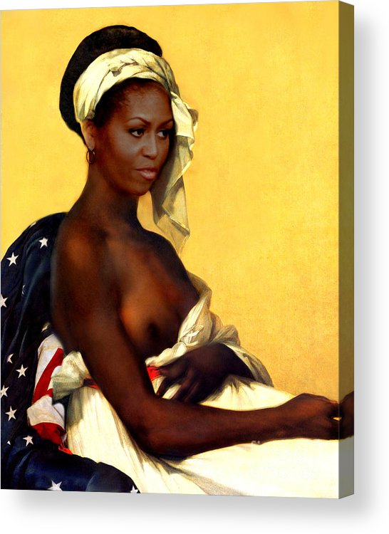 Michelle Obama Acrylic Print featuring the painting First Lady by Karine Percheron-Daniels