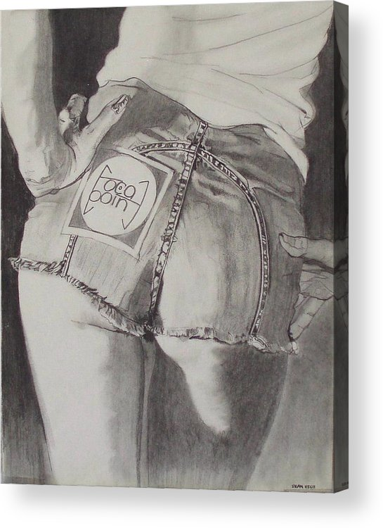 1970s;denim;dungarees;frayed;fringe;seams;cutoffs;hotpants;derierre;female;woman;t Shirt;pinup;fingers;shadow Acrylic Print featuring the drawing Focal Point . . Or . . The Will To Live by Sean Connolly