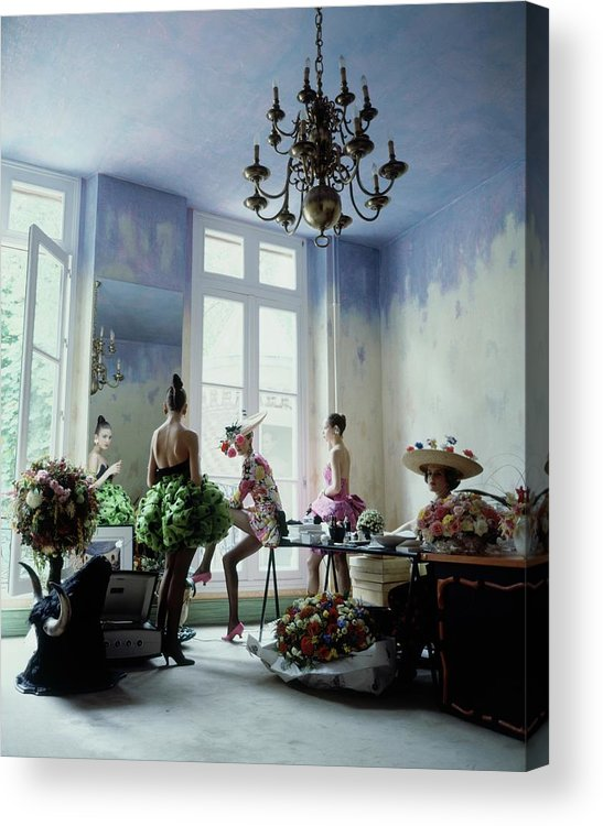 Fashion Acrylic Print featuring the photograph Four Models Inside Christian Lacroix's Studio by Arthur Elgort