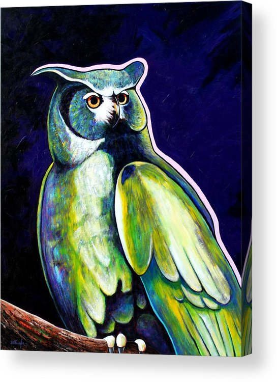 Owl Acrylic Print featuring the painting From The Shadows by Joe Triano