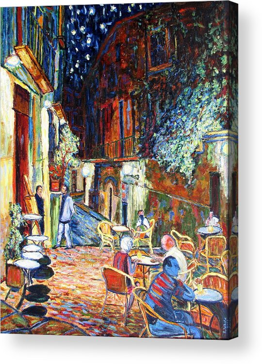 Impressionsist Spain Cafe Night Stars Van Gogh Acrylic Print featuring the painting Gerona by Rob White
