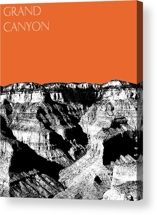 Pen And Ink Acrylic Print featuring the digital art Grand Canyon - Coral by DB Artist
