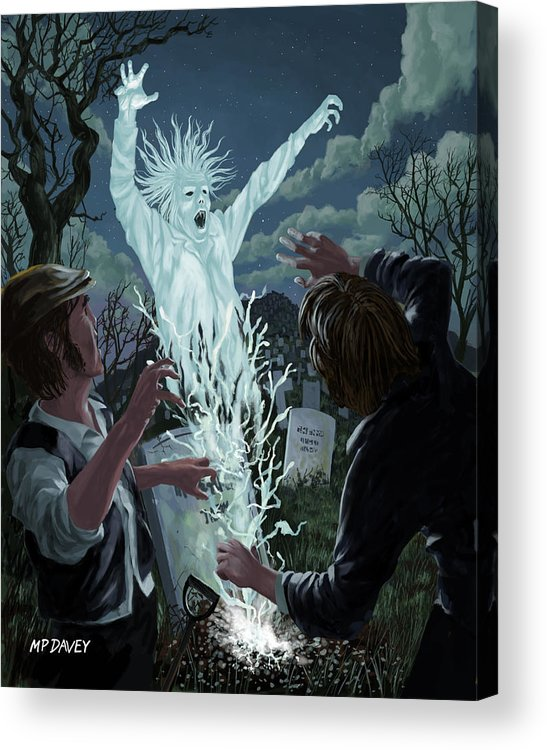 Graveyard Acrylic Print featuring the painting Graveyard Digger Ghost Rising From Grave by Martin Davey