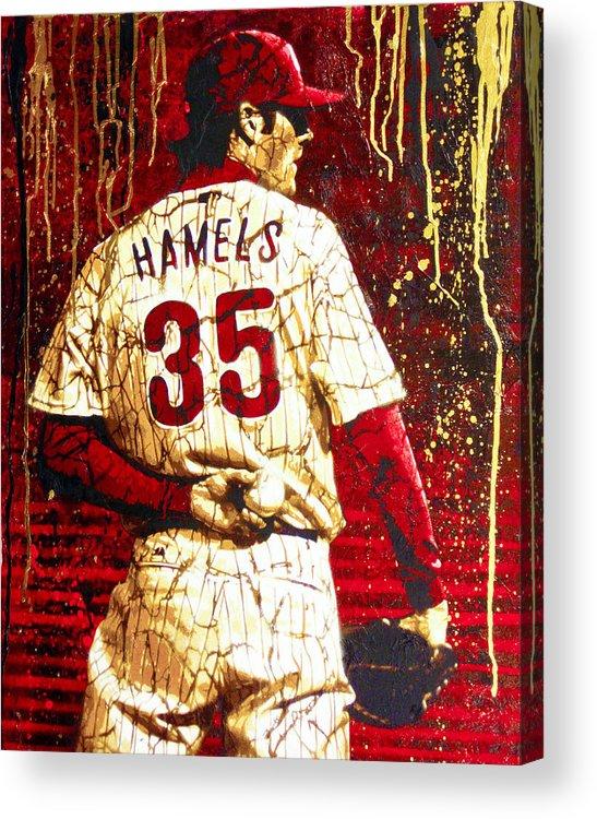 Cole Hamels Acrylic Print featuring the painting Hamels - The Executioner by Bobby Zeik