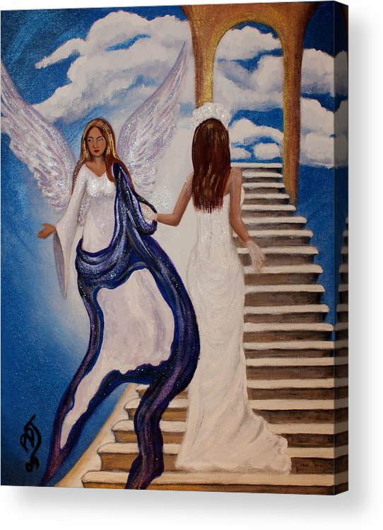 Bride Acrylic Print featuring the painting Here Comes The Bride by Pamorama Jones