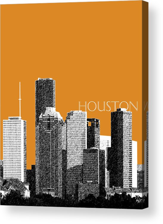 Architecture Acrylic Print featuring the digital art Houston Skyline - Dark Orange by DB Artist