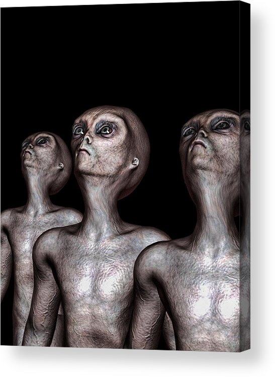 Alien Abduction Acrylic Print featuring the digital art If One Was Three by Bob Orsillo