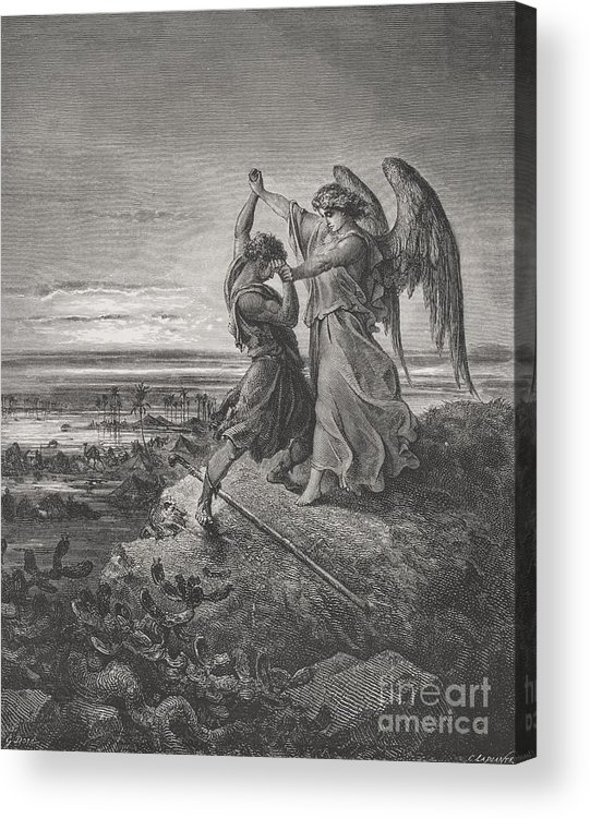 Wrestle Acrylic Print featuring the painting Jacob Wrestling With The Angel by Gustave Dore