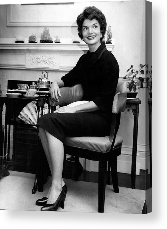 Retro Acrylic Print featuring the photograph Jacqueline Kennedy Sitting Pretty by Retro Images Archive
