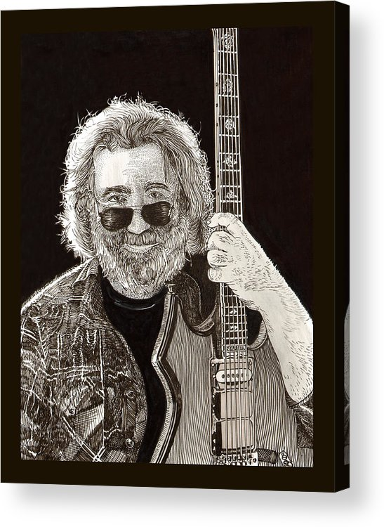 Thank You For Buying A 72 X 48 Canvas Print Of Jerome John Jerry Garcia Who Was An American Musician Who Was Best Known For His Lead Guitar Work Acrylic Print featuring the drawing Jerry Garcia String Beard Guitar by Jack Pumphrey