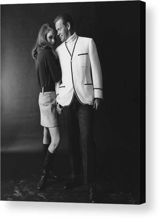 Fashion Acrylic Print featuring the photograph Joanna Pettet Posing With A Male Model by Leonard Nones
