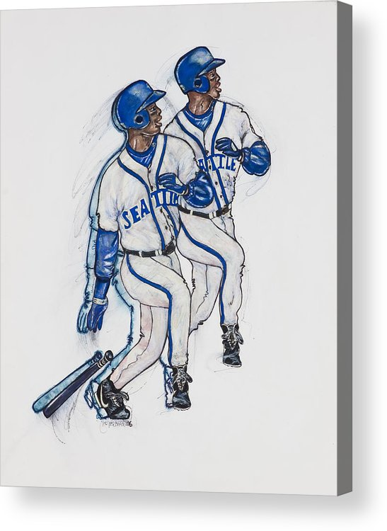 Baseball Acrylic Print featuring the painting Ken Griffey Jr. by Suzanne Macdonald