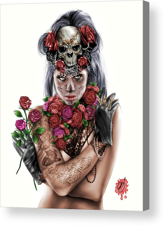 Pete Acrylic Print featuring the painting La Calavera Catrina by Pete Tapang