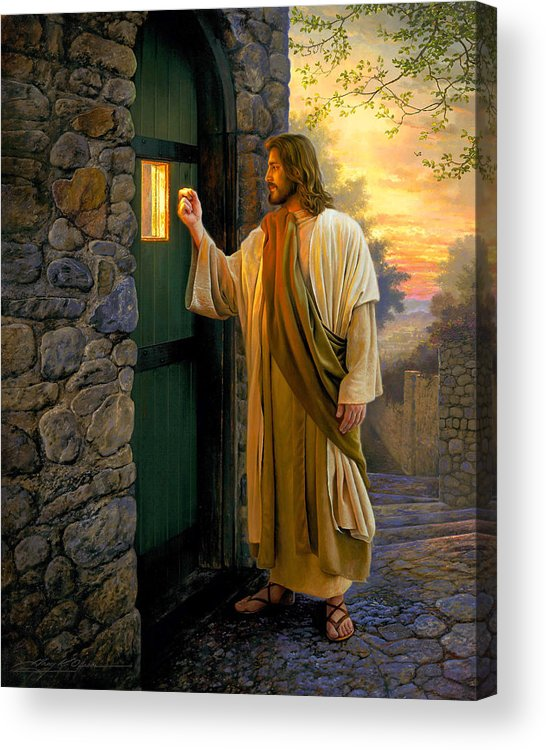 Jesus Acrylic Print featuring the painting Let Him In by Greg Olsen