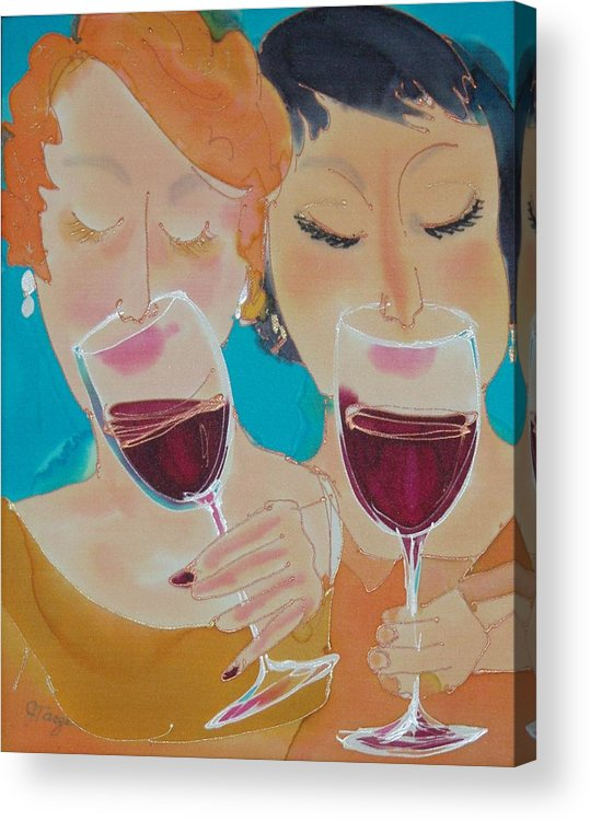 Wine Acrylic Print featuring the painting Let's Get Together by Jill Targer