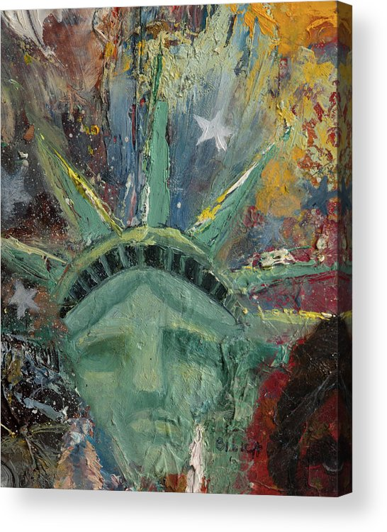 Lady Liberty Acrylic Print featuring the painting Liberty Breaking Out by Trish Bilich