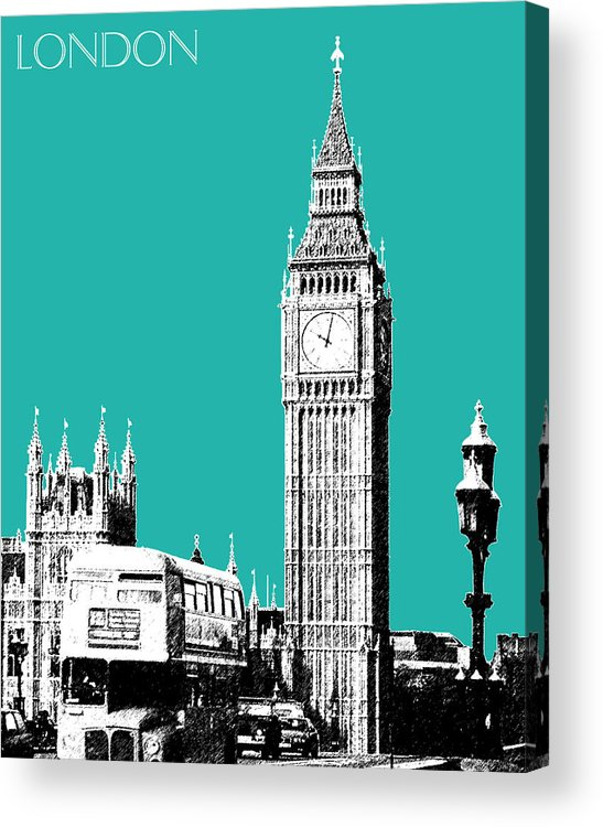 Architecture Acrylic Print featuring the digital art London Skyline Big Ben - Teal by DB Artist