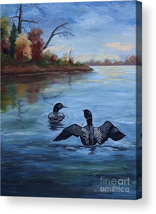 Loons Acrylic Print featuring the painting Loon Dance II by Brenda Thour
