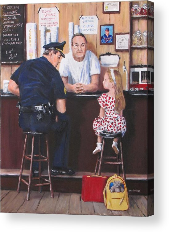 Police Acrylic Print featuring the painting Lost And Found by Jack Skinner
