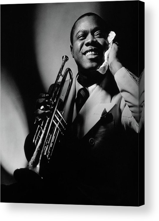 Portrait Acrylic Print featuring the photograph Louis Armstrong Holding A Trumpet by Anton Bruehl