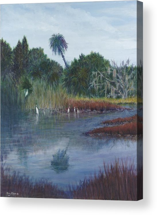 Landscape Acrylic Print featuring the painting Low Country Social by Ben Kiger