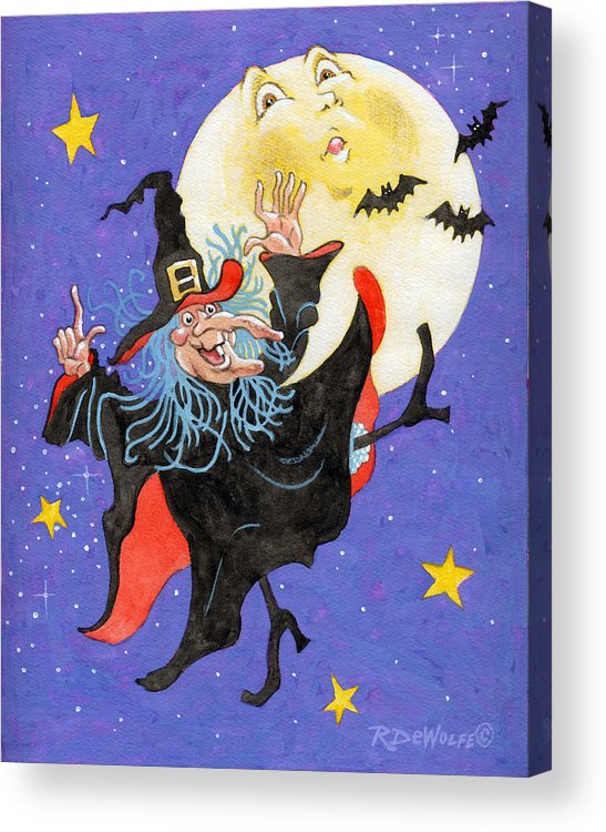 Halloween Acrylic Print featuring the painting Mad Millie Moon Dance by Richard De Wolfe