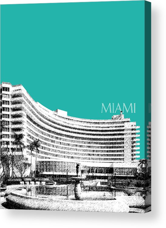 Architecture Acrylic Print featuring the digital art Miami Skyline Fontainebleau Hotel - Teal by DB Artist