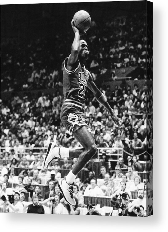Classic Acrylic Print featuring the photograph Michael Jordan Gliding by Retro Images Archive