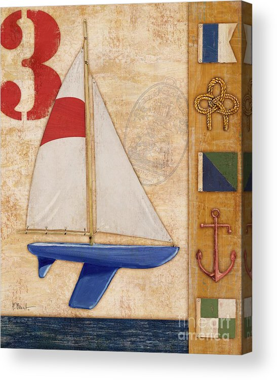 Red Acrylic Print featuring the painting Model Yacht Collage II by Paul Brent