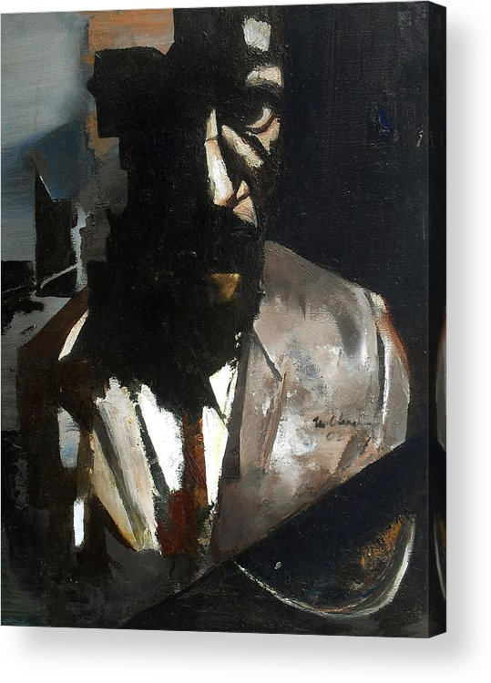 Thelonious Monk Jazz Piano Portrait Acrylic Print featuring the painting Monk by Martel Chapman