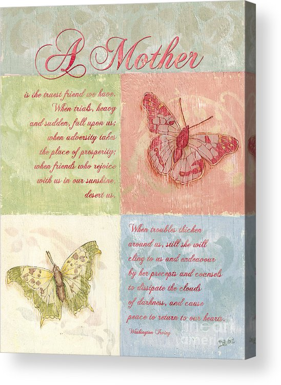 Butterfly Acrylic Print featuring the painting Mother's Day Butterfly Card by Debbie DeWitt