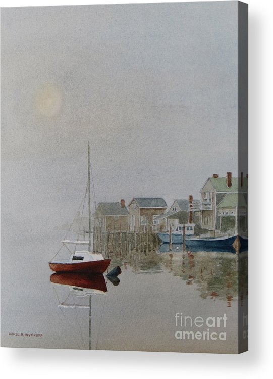 Dock Acrylic Print featuring the painting Nantucket Fog by Karol Wyckoff