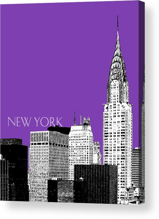 Architecture Acrylic Print featuring the digital art New York Skyline Chrysler Building - Purple by DB Artist