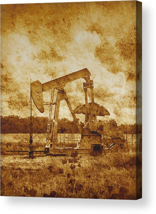 Oil Acrylic Print featuring the photograph Oil Pump Jack In Sepia Two by Ann Powell