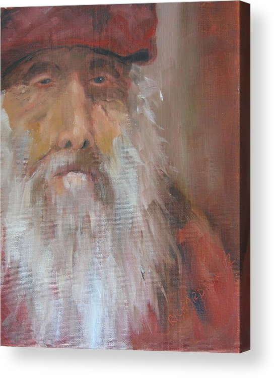 Christo Poloronis Acrylic Print featuring the painting Old Salt Christo At 80 by Susan Richardson