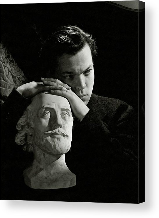 Artist Acrylic Print featuring the photograph Orson Welles Resting On A Sculpture by Cecil Beaton