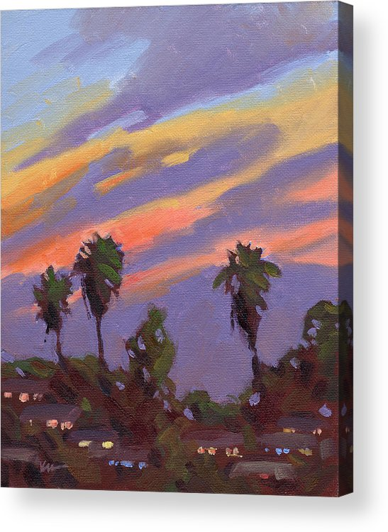 Sunset Acrylic Print featuring the painting Pacific Sunset 1 by Konnie Kim