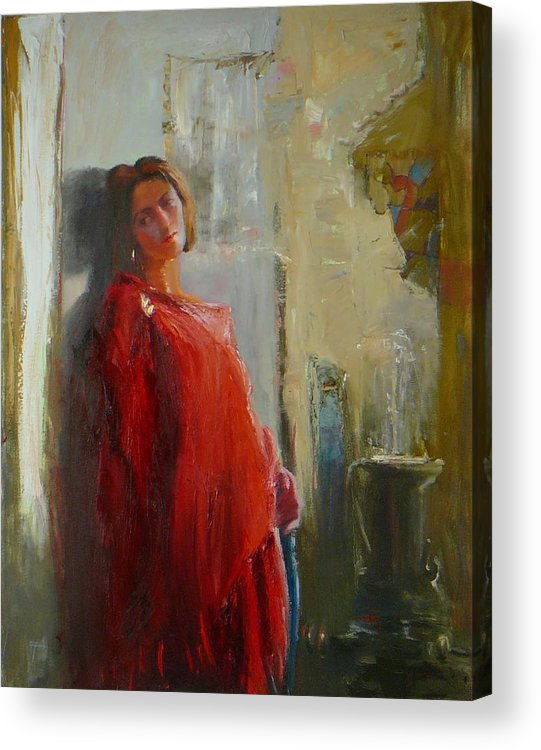 Red Poncho Acrylic Print featuring the painting Red Poncho by Irena Jablonski
