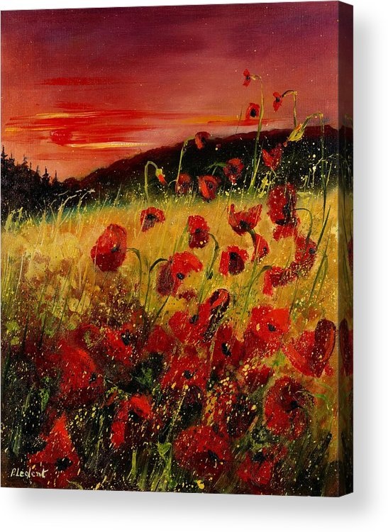 Poppies Acrylic Print featuring the painting Red Poppies And Sunset by Pol Ledent