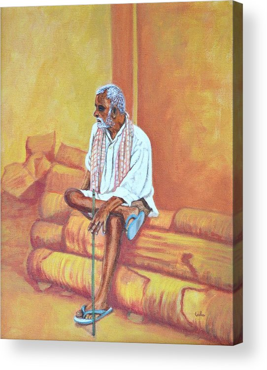 Usha Acrylic Print featuring the painting Reminiscing by Usha Shantharam