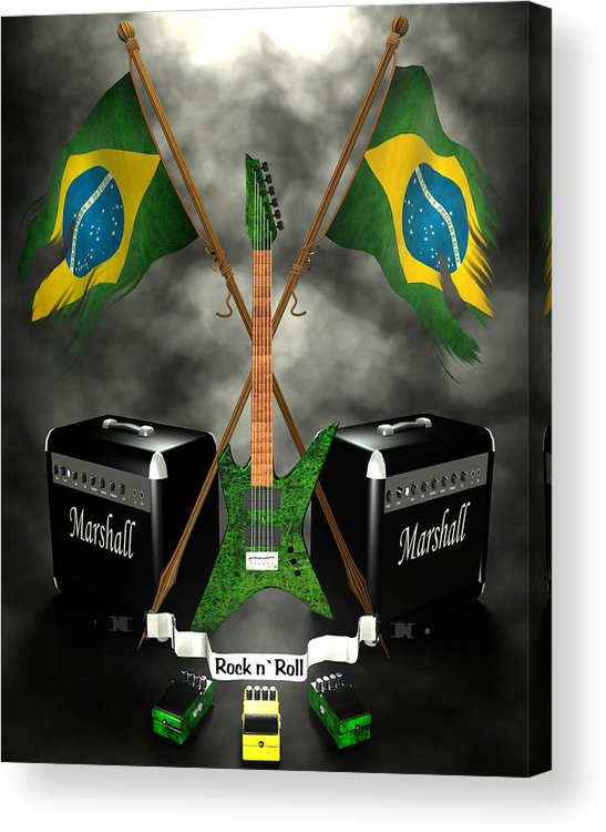 Rock N Roll Acrylic Print featuring the digital art Rock N Roll Crest - Brazil by Frederico Borges