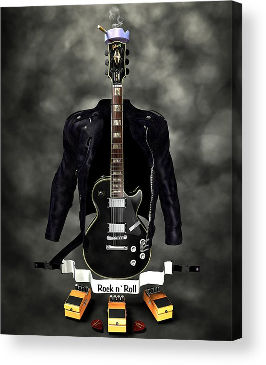 Rock N Roll Acrylic Print featuring the digital art Rock N Roll Crest-the Guitarist by Frederico Borges