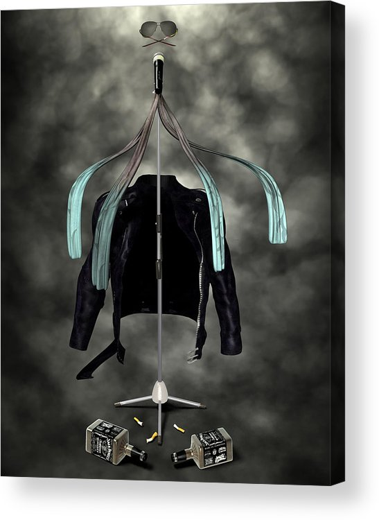 Rock N Roll Acrylic Print featuring the digital art Rock N Roll Crest-the Vocalist by Frederico Borges