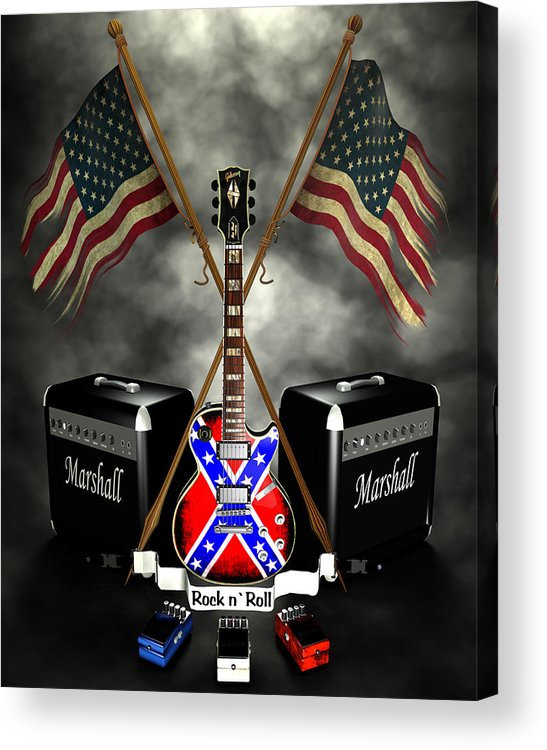 Usa Acrylic Print featuring the digital art Rock N Roll Crest- Usa by Frederico Borges