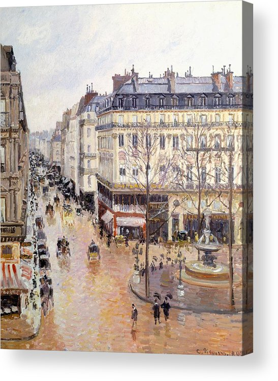 Art Acrylic Print featuring the painting Rue Saint Honore Afternoon Rain Effect by Camille Pissarro