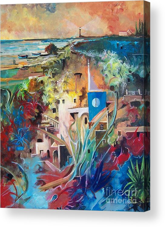 Abstract Acrylic Print featuring the painting Secret Cove by Sinisa Saratlic