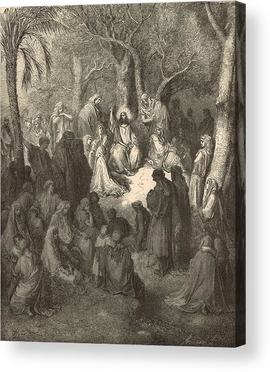 Biblical Acrylic Print featuring the drawing Sermon On The Mount by Antique Engravings